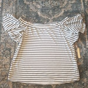 NWT Gibson Latimer Knit Flowy Off Shoulder Blouse